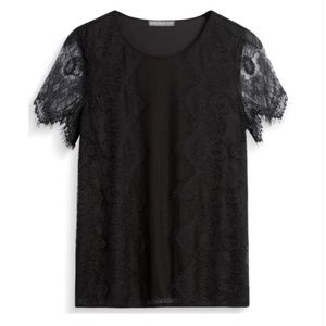 Kilty Lace Overlay Knit Top